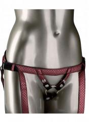 Imbracatura Universale Profilo Basso in Ecopelle Rossa per Strap On