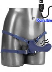 Strap On vibrante e pulsante per donna in silicone viola con cintura regolabile 16 x 3,75 cm.