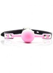 Gag Ball Rosa con Cintura in Ecopelle e Borchie Chiudibile con Lucchetto