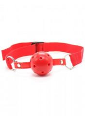 Gag Ball Rossa Forata con Cintura Regolabile in Tessuto