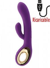 Vibratore Rabbit Viola con Motore Doppio Ricaricabile USB in Silicone 24 x 3,6 cm.