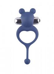 Anello Fallico Vibrante in Puro Silicone Blu a Forma di Orsetto
