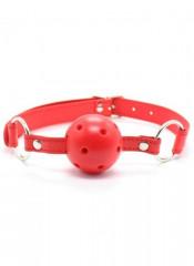 Gag Ball Rossa Forata con Cinturino in Similpelle Regolabile