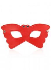 Maschera Rossa da Farfalla con Borchie Metalliche