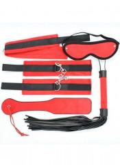 Kit BDSM Rosso Completo con Frusta Manette Maschera Collare e Sculacciatore