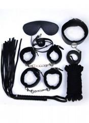 Kit BDSM Nero Completo con Frusta Manette Cavigliere Maschera Collare Corda e Gagball