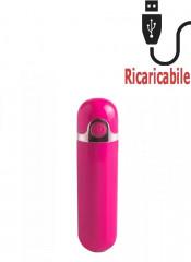 Mini Vibratore Bullet Rosa Ricaricabile con USB 8,7 x 2,2 cm.
