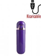 Mini Vibratore Bullet Viola Ricaricabile con USB 8,7 x 2,2 cm.