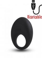 Anello Fallico Vibrante in Puro Silicone Nero Ricaricabile USB