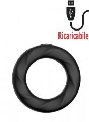 Anello rigido Rev Cockring vibrante in silicone nero ricaricabile tramite USB 4,8 cm.