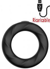 Anello rigido Rev Cockring vibrante in silicone nero ricaricabile tramite USB 5,2 cm.