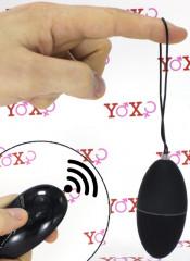 Ovetto vibrante nero telecomandato senza fili 7,5 x 3,5 cm.