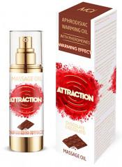 Olio per massaggi riscaldante afrodisiaco al cioccolato con feromoni 30 ml.
