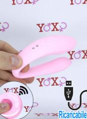 Vibratore per coppia in silicone rosa ripiegabile ricaricabile USB con telecomando wireless