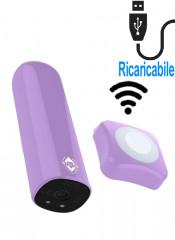 Bullet stimola clitoride lilla ricaricabile USB con telecomando wireless 7,7 x 2,8 cm.