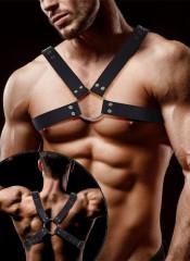 Darom - Imbracatura BDSM Maschile in Ecopelle Vegana Regolabile con Anelli Nera