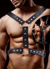 Fabrio - Imbracatura BDSM Maschile in Ecopelle Vegana Regolabile con Anelli Nera