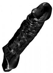 """Guaina per pene e testicoli """"Black Mamba"""" nera 21,5 x 5,8 cm."""