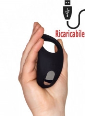 Anello Vibrante in Silicone Nero da 4 cm. di Diametro Ricaricabile USB