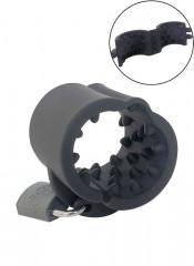 Cruncher ball stretcher in silicone nero con punte e lucchetto 4,3 x 4 cm.