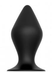 Cuneo Anale in Puro Silicone Nero con Ventosa 14,6 x 6,7 cm.