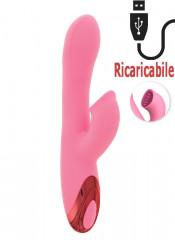 Vibratore Rabbit Rosa in Silicone Riscaldante ed Effetto Lingua 21 x 3,5 cm.