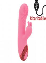 Vibratore Rabbit Rosa Riscaldante in Silicone con Rilievi Stimolanti e Bunny 21 x 3,4 cm.