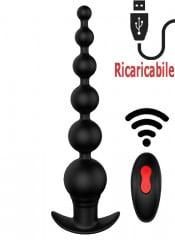 Catena anale vibrante con 6 sfere progressive in silicone nero 20,7 x 4 cm.