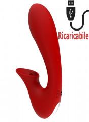 Vibratore rabbit in silicone rosso con lingua lecca clitoride 20 x 4 cm.