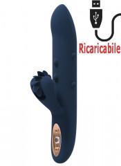 Vibratore rabbit in silicone blu scuro con rotella lecca clitoride 23,5 x 3,7 cm.