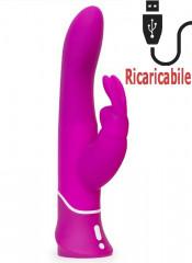 Vibratore Rabbit Ricaricabile USB in Puro Silicone 24 X 3,5 cm.