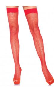 LEG AVENUE Calze a Rete Autoreggenti Rosse - Taglia Unica Elasticizzata (Tg.36-48)