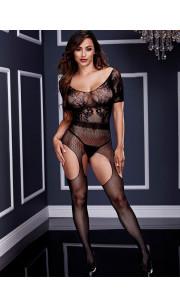 Tuta Sexy con Ricami Crotchless Baci Lingerie - Taglia Unica Elasticizzata (Tg.36-48)
