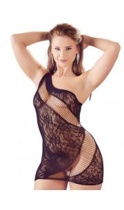 Mini abito sexy nero con ricami in pizzo floreali e inserti con elastici - Taglia unica elasticizzata (Tg.36-48)