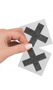 Copri capezzoli adesivi a forma di X colore nero con glitter