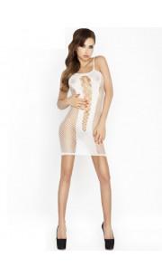 Mini abito sexy bianco con ricami al centro e rete sui fianchi - Taglia unica elasticizzata (Tg. 36-46)