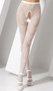Collant sexy bianchi con ricamo a zig-zag - Taglia Unica Elasticizzata (Tg. 36-46)