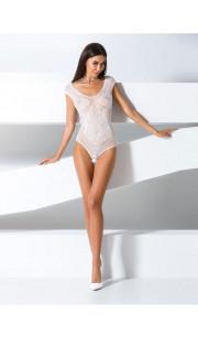 Body sexy a rete bianco con ricami vari - Taglia unica elasticizzata (Tg. 36-46)