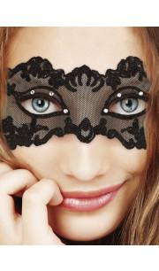 Maschera nera in tulle e pizzo con cristalli